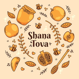 Shana tova lettering with doodles