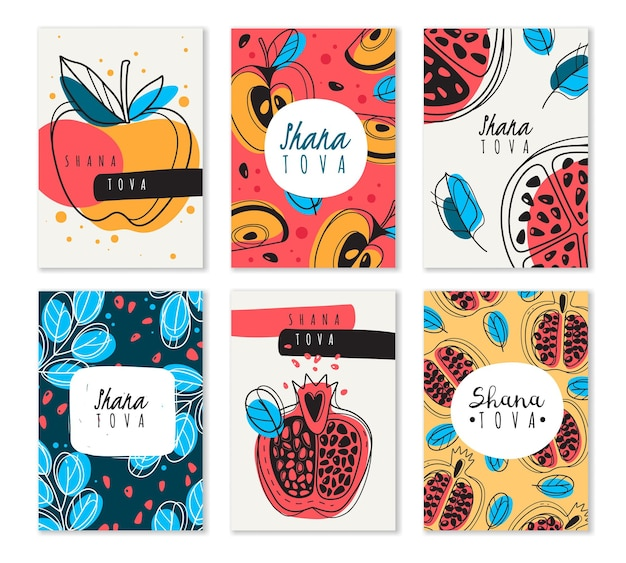 Shana tova. set of blessing happy and sweet new year rosh hashanah postcards with jewish holiday symbols pomegranate, honey, apple vector cards collection