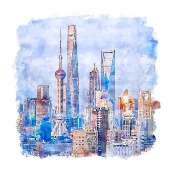 상하이 중국 수채화 스케치 손으로 그린 그림