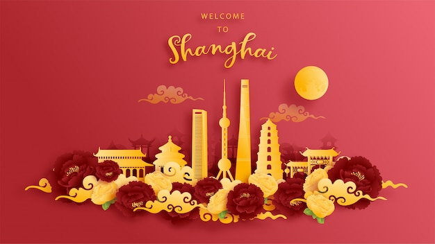 Shanghai, china world famous landmark in gold and red background. paper cut  .