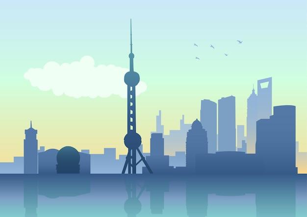 Shanghai city skyline on the huangpu river