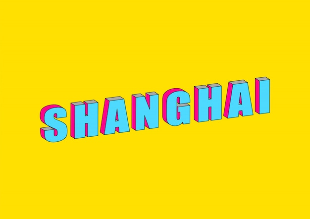 Shanghai text with 3d isometric effect