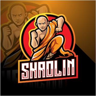 Shaolin esport талисман дизайн логотипа