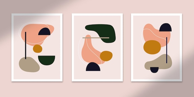 모양 추상 포스터 아트 손으로 그린 모양은 벽 인쇄 장식을위한 세트 컬렉션을 커버합니다