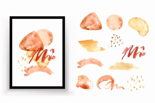 Shape abstract watercolor illustration