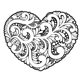 Shape heart of swirls and floral elements.
