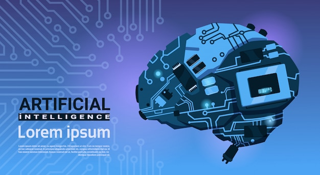 Shape of modern brain cyborg mechanism over circuit motherboard background banner with copy space