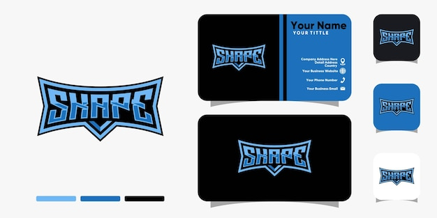 Shape monogram esport logo and business card design vector template
