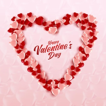분홍색과 빨간색 풍선 하트의 심장 모양.