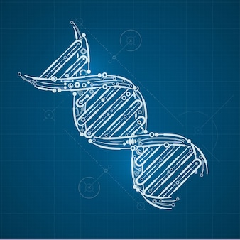 Shape of DNA combined with electronic board pattern