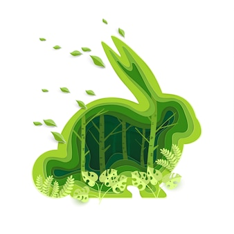 Shape of a rabbit with a green ecological concept