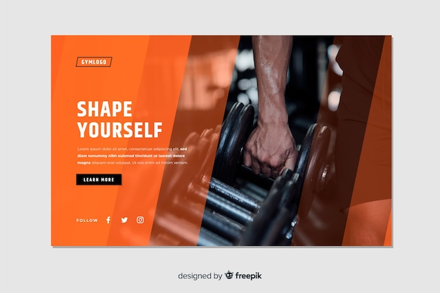 Shape yourself gym promotion landing page with photo