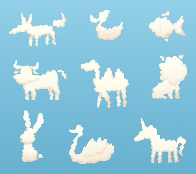 Shapes of animal clouds, different funny cartoon clouds