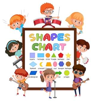다양한 활동을 하는 많은 아이들이 있는 모양 차트 보드