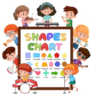 多くの子供たちがさまざまな活動をしているチャートボードを形作ります