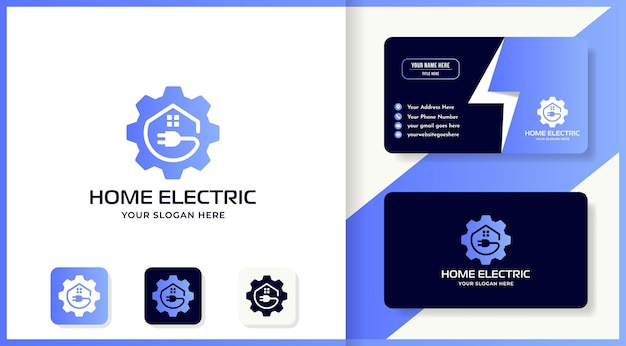 Shapes gear plug house logo design and business card