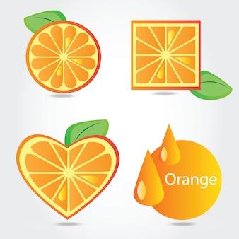 オレンジ色の果物の形-白い背景の上のベクトル図