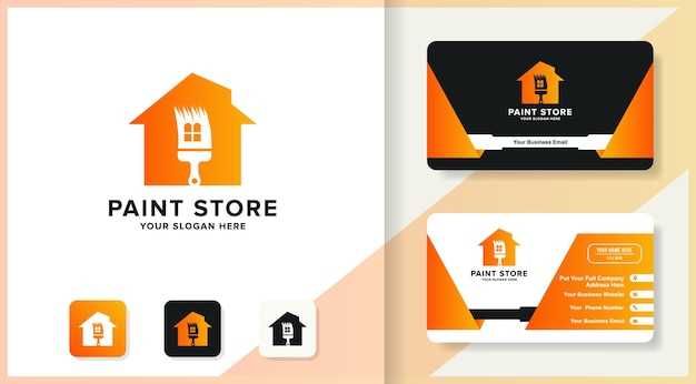 Shapes paintbrush house logo design and business card