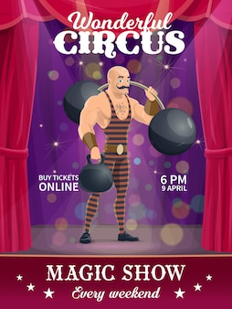 Shapito circus poster, cartoon strongman vector character on big top stage. magic show performance flyer with artist performing tricks with barbell, invitation to carnival amusement entertainment