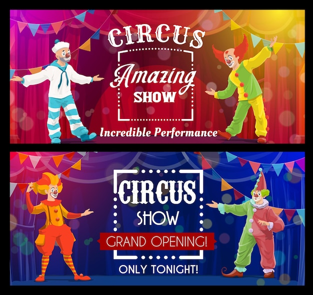 Shapito 서커스 쇼, 만화 광대, 벡터 예술가 또는 큰 최고 경기장의 공연자. 카니발 쇼 그랜드 오프닝 배너. 밝은 의상을 입은 funsters는 무대 뒤와 화환으로 서커스 장면에서 공연합니다.