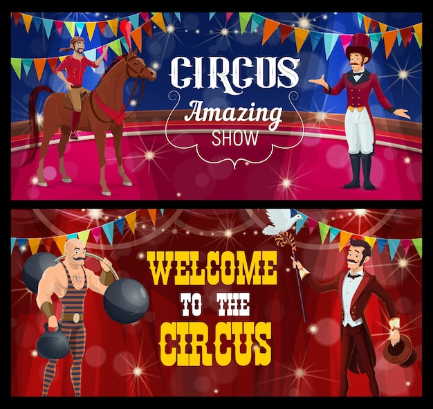 Shapito circus stage with cartoon acrobat, magician, strongman