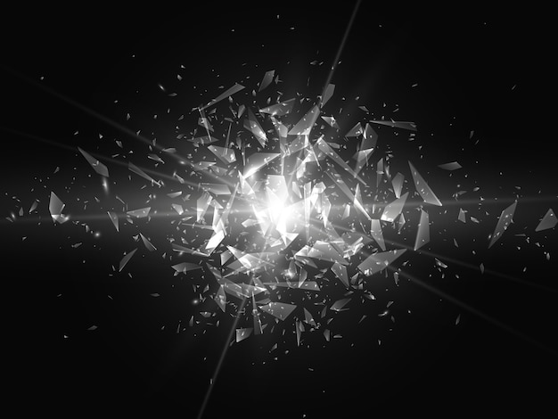 Shards of broken glass. abstract explosion. background