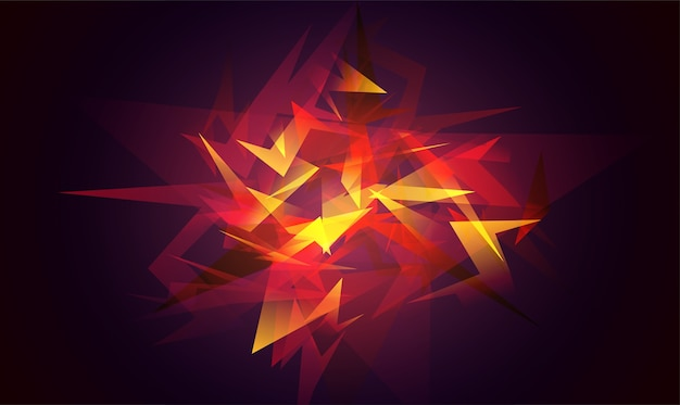 Shards of broken glass. red abstract shapes explosion. glowing dynamic background