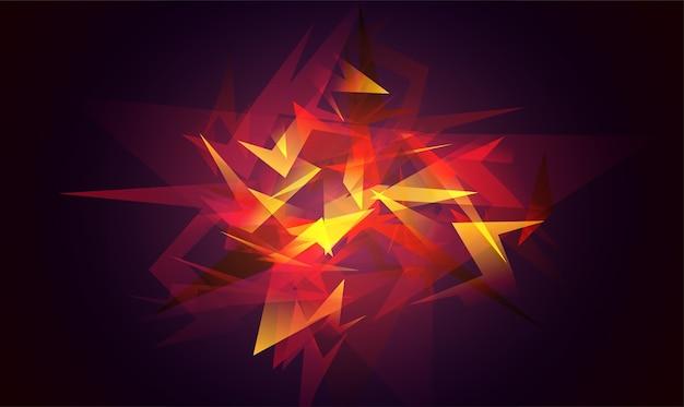 割れたガラスの破片。赤い抽象的な形の爆発。輝くダイナミックな背景