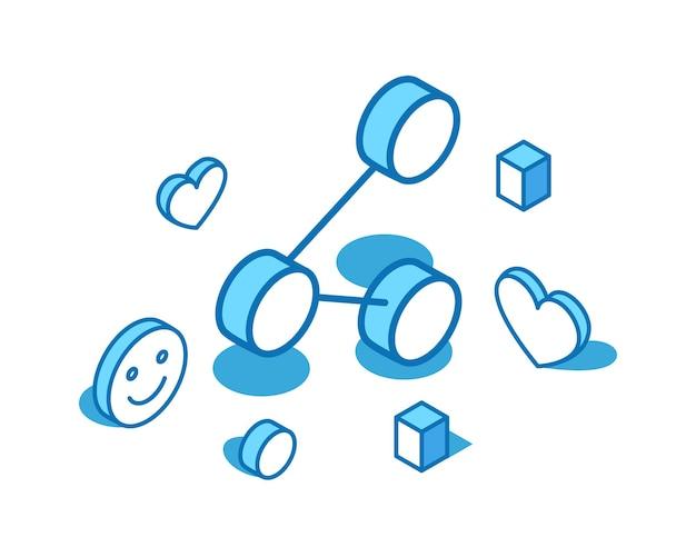 青い線のアイソメ図を共有する転送メッセージ矢印フィードバック3dバナーテンプレート