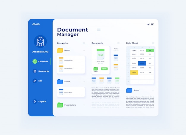 Share document tablet interface vector template