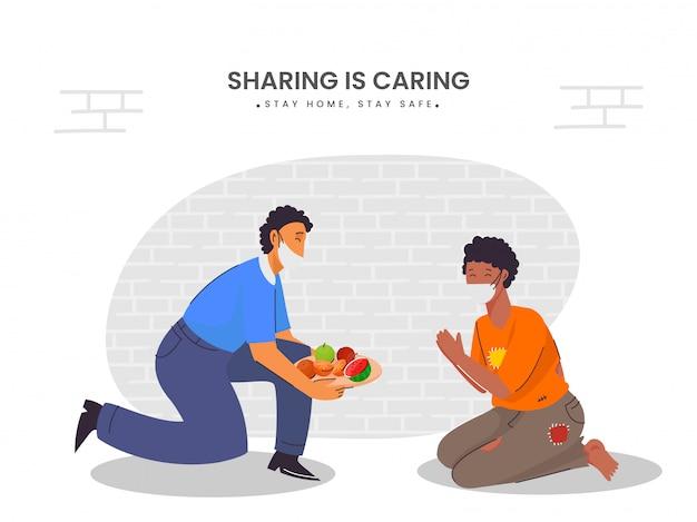 유행성 개념, 건강 관리 개념에서 음식을 공유하고 도움을줍니다. 글로벌 바이러스 전염병 또는 전염병.