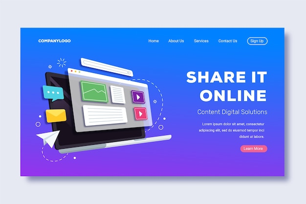 Share it online laptop landing page