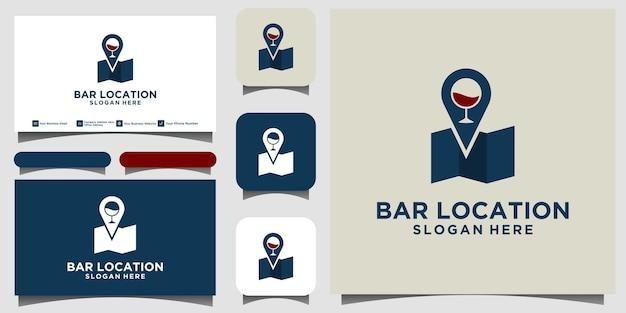 名刺と飲み物のロゴデザインベクトルのロケーションバーを共有する