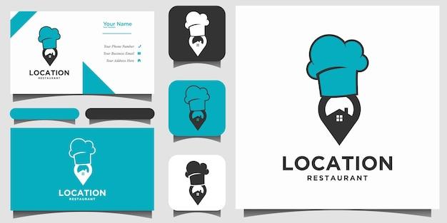 場所レストランのロゴデザインベクトルを名刺と共有する