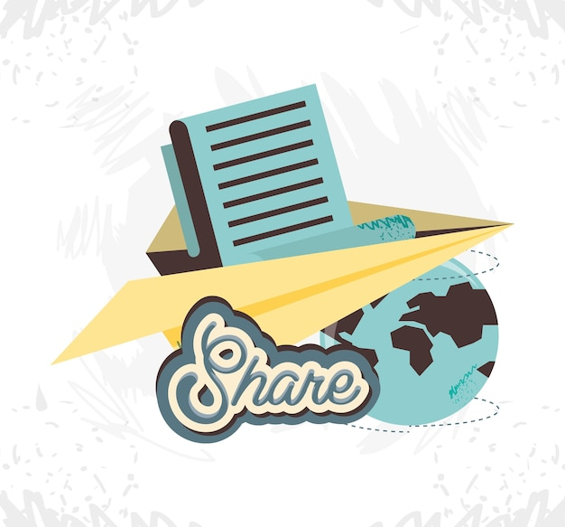 Share social media with paper airplane