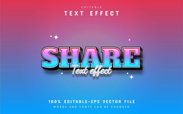 Share text - editable 3d gradient style text effect