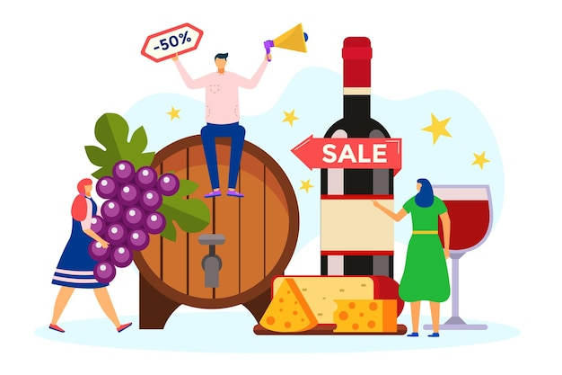 Share wine concept vector illustration flat tiny man woman character near alcohol glass discount sal...