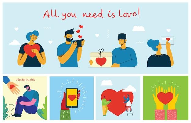 Поделись своей любовью. руки и люди с сердцем как любовные массажи. иллюстрация ко дню святого валентина в современном плоском стиле