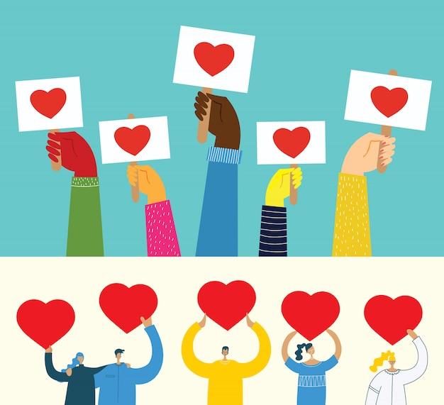 Поделитесь своей любовью. руки с сердечками как любят массажи. иллюстрация для дня святого валентина в плоском стиле
