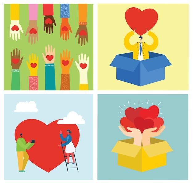 あなたの愛を共有してください。愛のマッサージとして心を持つ人々。モダンなフラットスタイルのバレンタインデーのイラスト