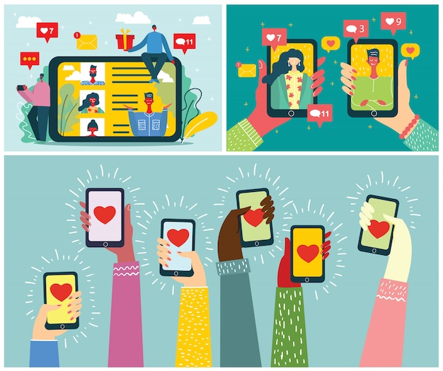 Share your love. valentine's concept on online dating application in flat design. male and female hands holding mobile phones with abstract dating app profile on display.