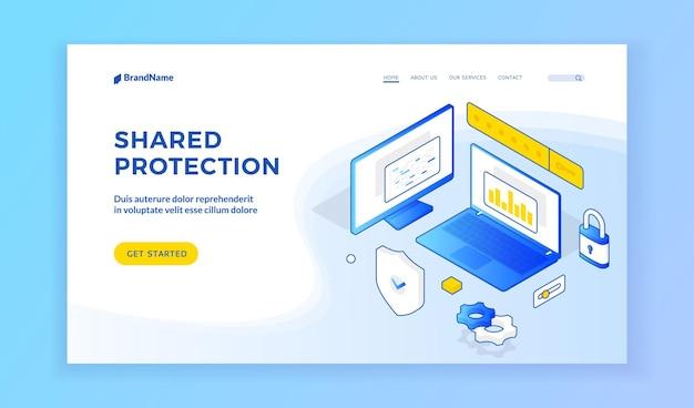 공유 보호. 공유 보호에 대한 웹 사이트의 홈페이지에 안전 요소가 있는 컴퓨터 및 노트북의 파란색 3차원 아이콘. 아이소메트릭 웹 배너, 방문 페이지 템플릿