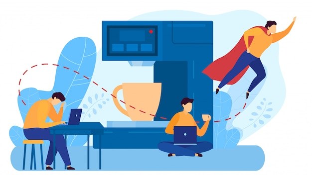Shared workplace, character man sit at laptop, drink coffee, male superhero fly,  on white,   illustration.