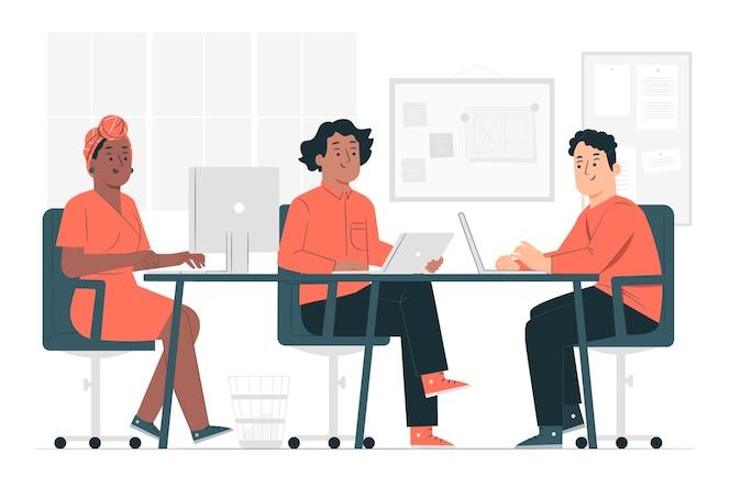 Illustrazione di concetto di spazio di lavoro condiviso