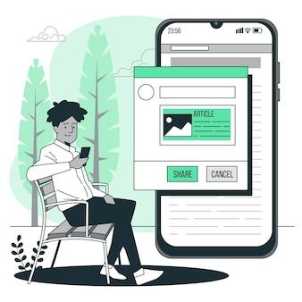 Condivisione di articoli concetto illustrazione