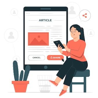 Sharing articlesconcept illustration