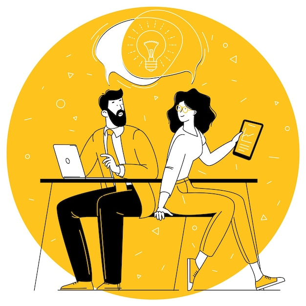 Обмен бизнес-идеями, сотрудничество и командная работа