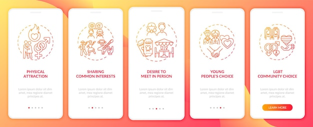 Sharing common interests onboarding mobile app page screen