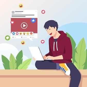 Совместное использование контента в социальных сетях с человеком и ноутбуком