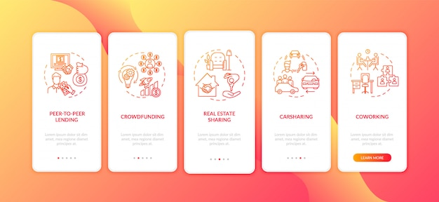 Sharing economy onboarding mobile app page screen with concepts